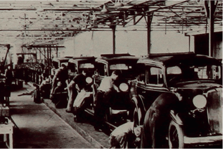 Archive footage of old cars