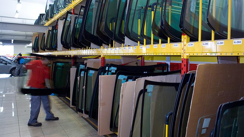 Windscreens stored on rack