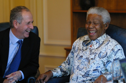 Image of Gary Lubner and Nelson Mandela laughing