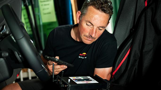 Technician performing diagnostic