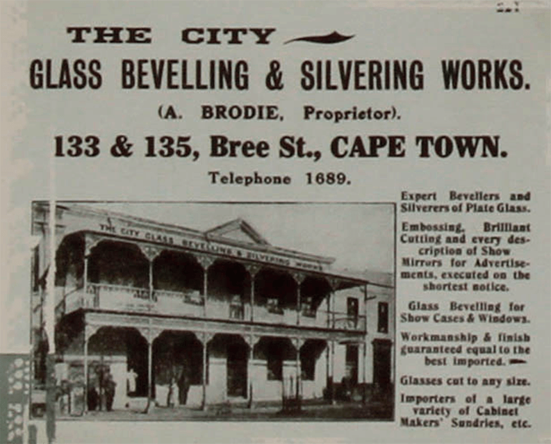 Archive newspaper clipping reading 'Glass Bevelling & Slivering works'