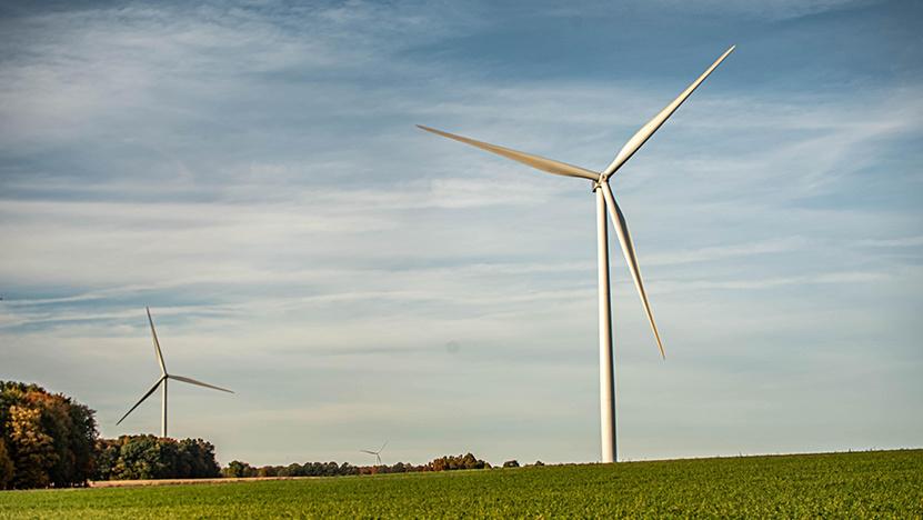 Wind turbine set in countryside